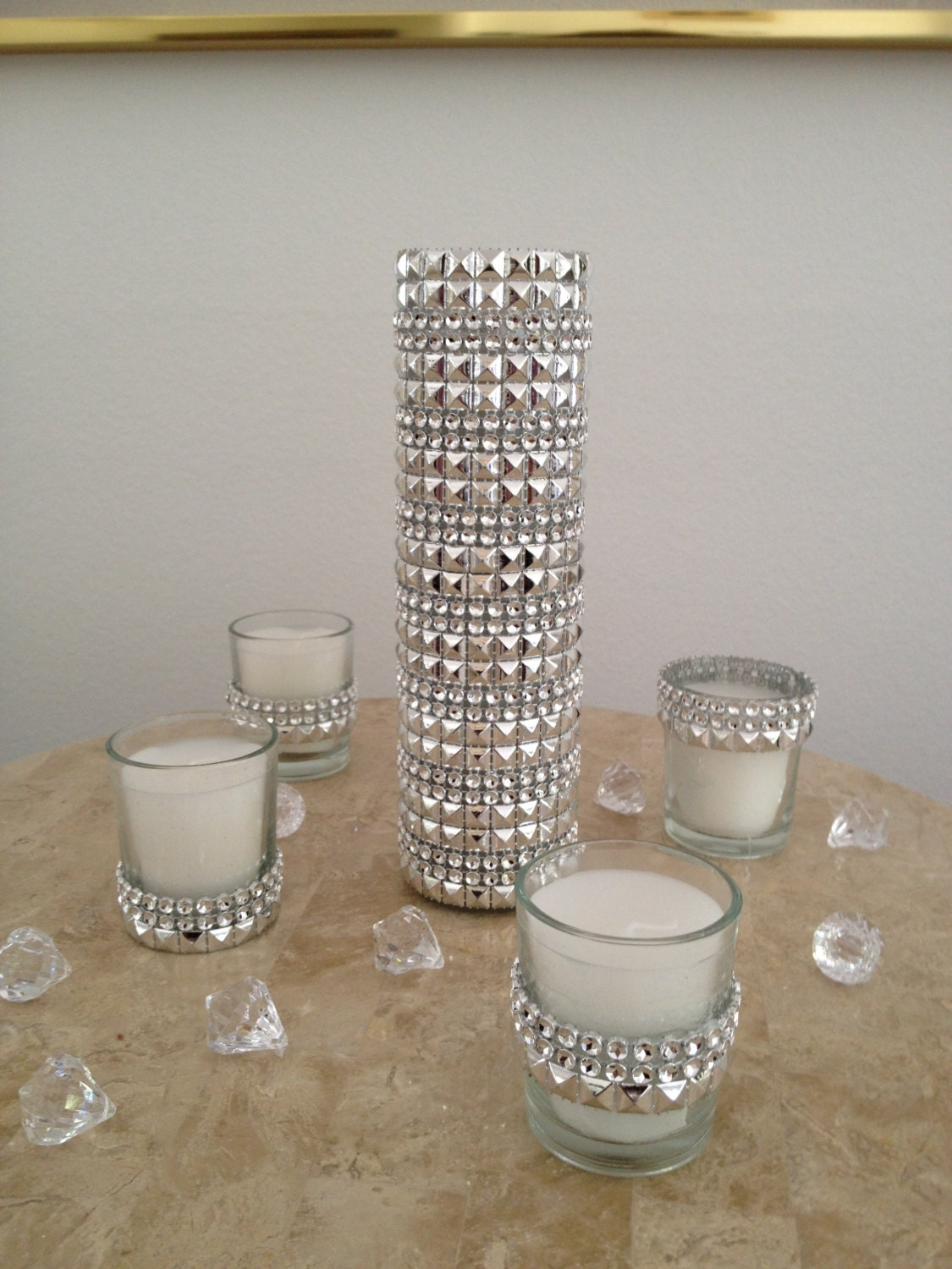 5 Piece Silver Rhinestone Bling Mesh Glass Candle by