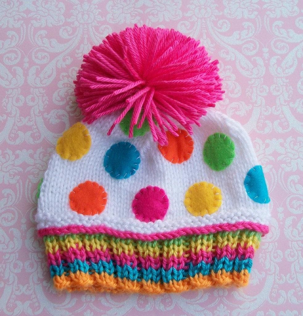 FUSCHIA Pom Pom CONFETTI CUPCAKE Hat-Newborn Size- Made to order only