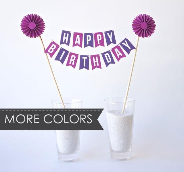 Custom Cake Bunting Happy Birthday With Rosette
