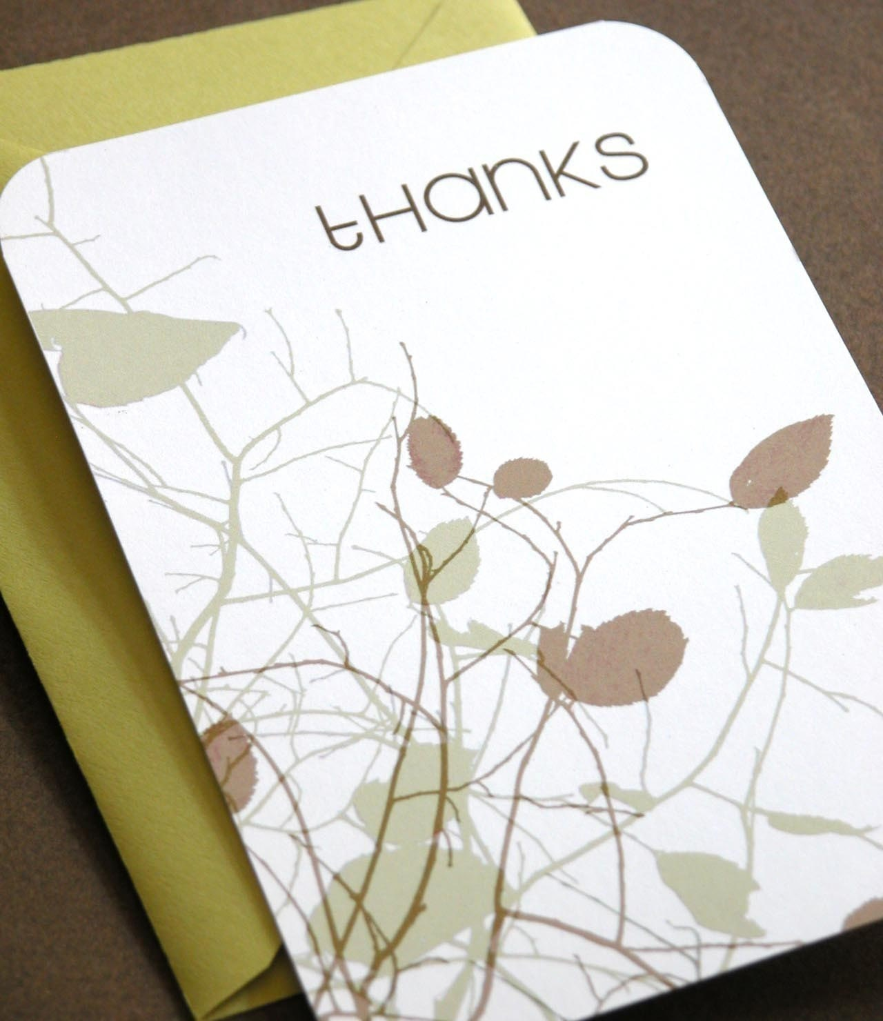 Set of 8 thanks cards with chartruese envelopes