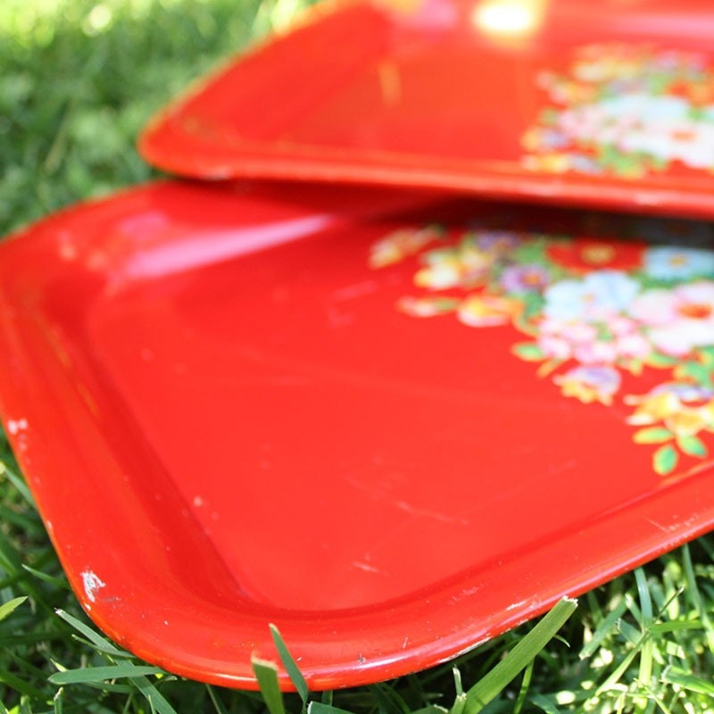 Vintage red drink trays with flower design