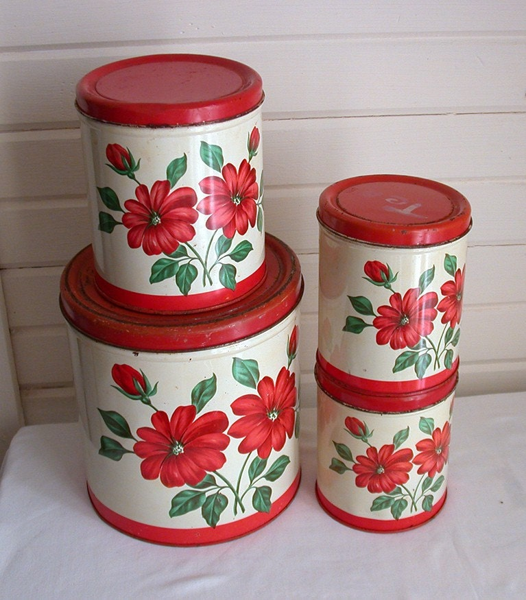 retro kitchen canisters with red flowers by redlillyvintage