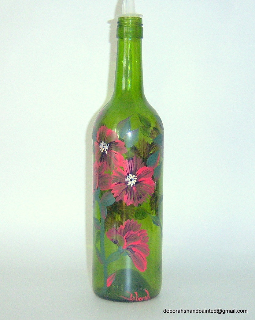 Items similar to hand painted upcycled green wine bottle for Painting flowers on wine bottles