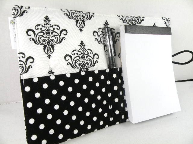 Organizer Notepad Clutch Journal CHANDELIER in Black & White Paper and Pen are Included