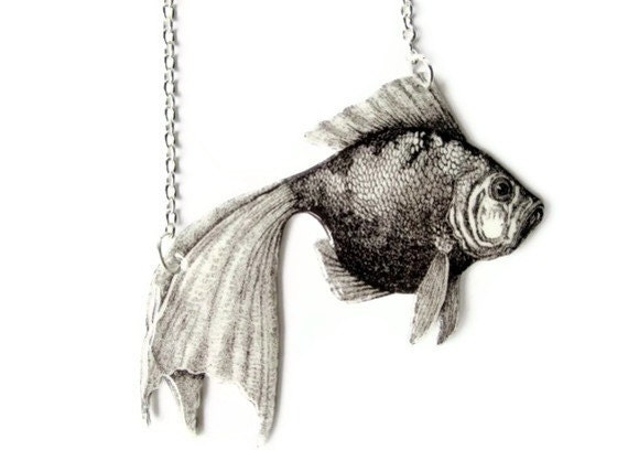 Melancholy Gold Fish Necklace Koi Black And By