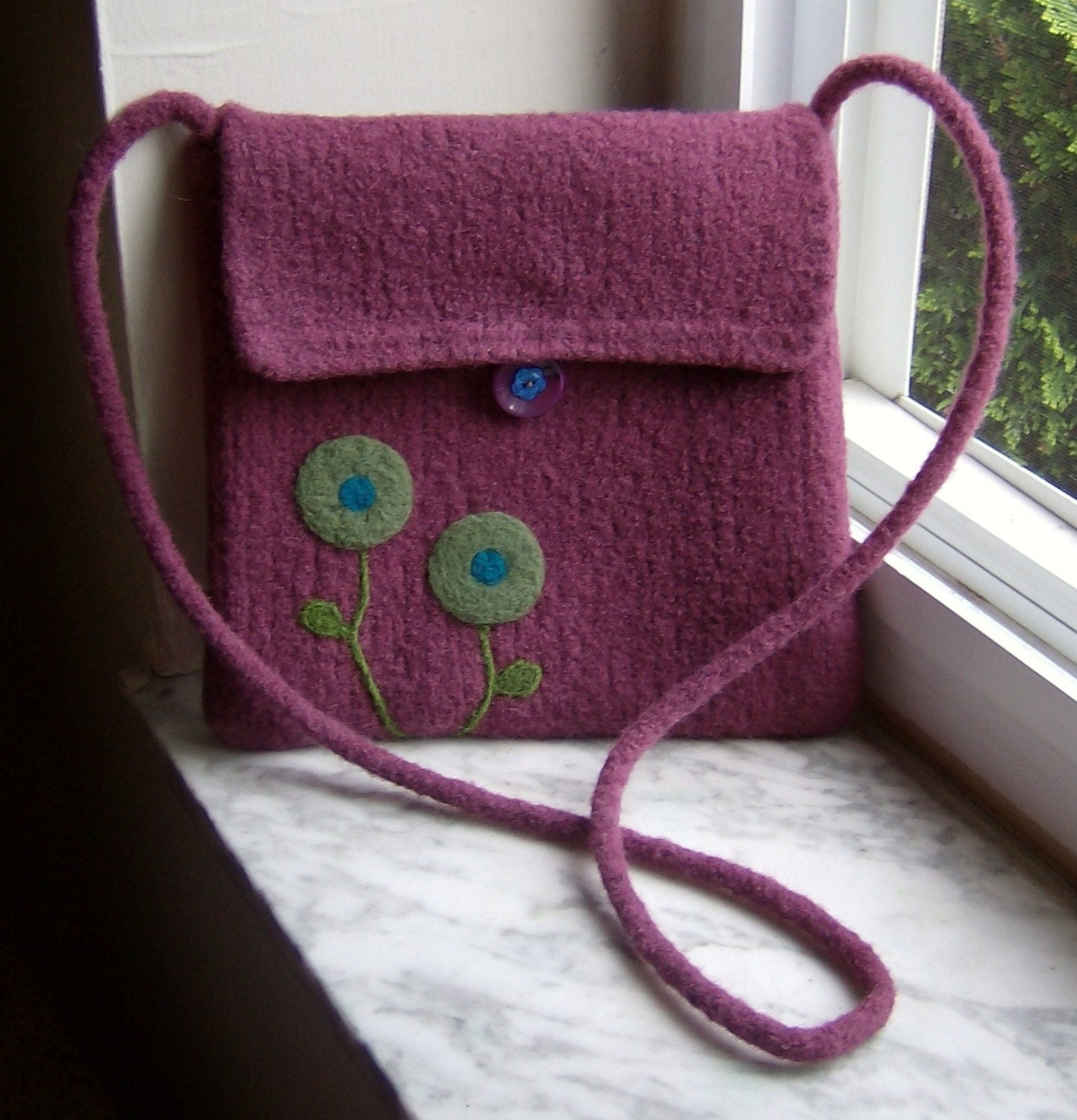 Plain Jane Plum Poppy Handknit Felted Purse - Made to Order
