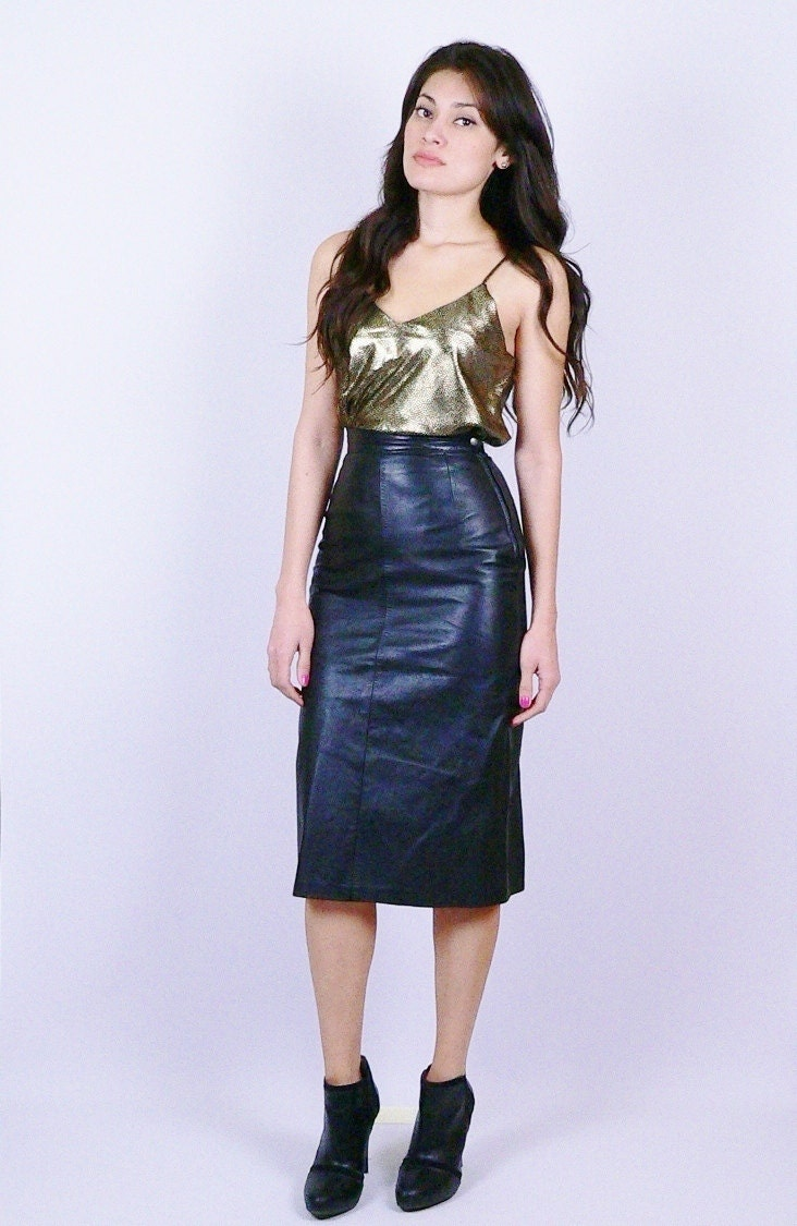 black leather high waisted pencil skirt by