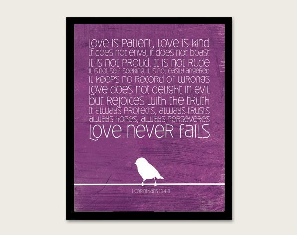 1 Corinthians 13 4-8  Purple