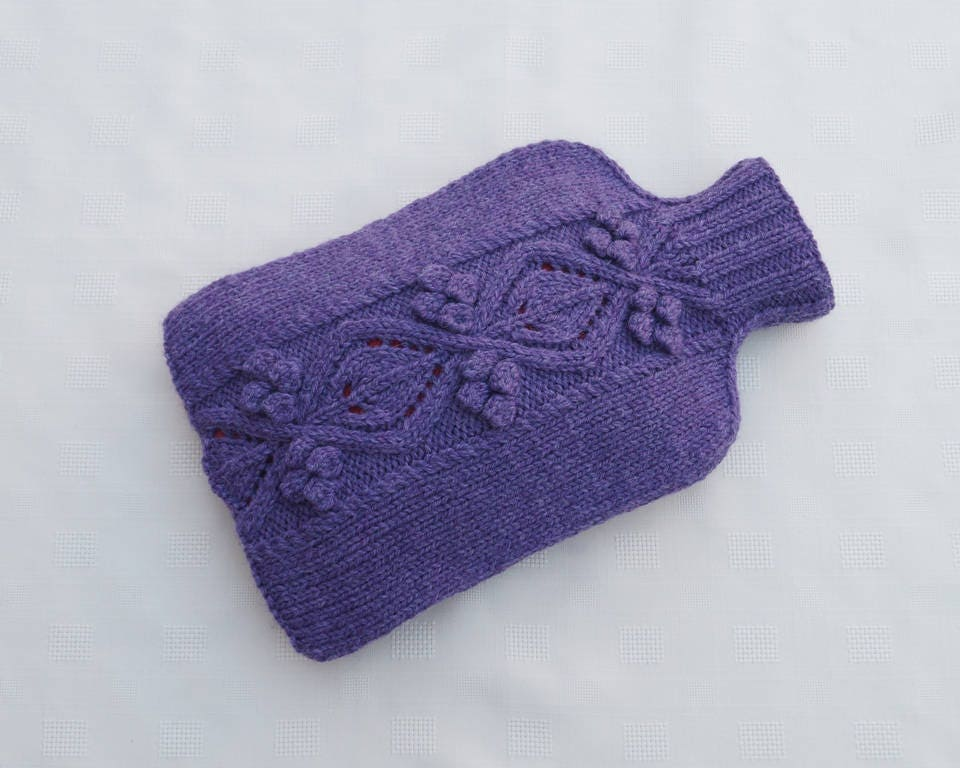 Hot Water Bottle Cosy Cover Purple  FOXCOTE