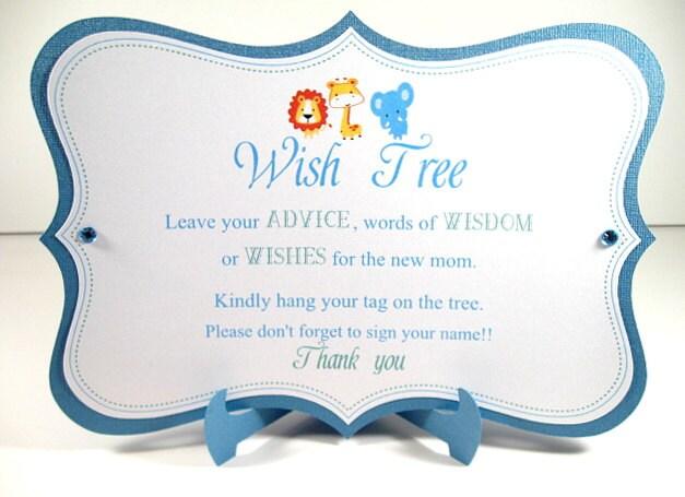 Wish tree sign baby shower jungle animals