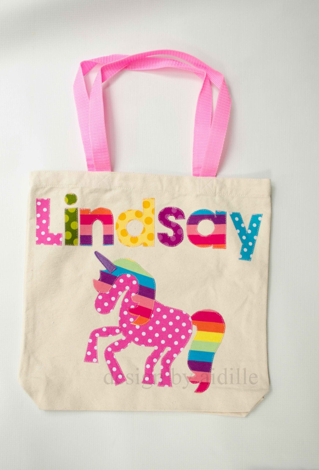 Girls Personalized Tote Bag, Rainbow Unicorn Name Bag, Canvas Tote, Up ...