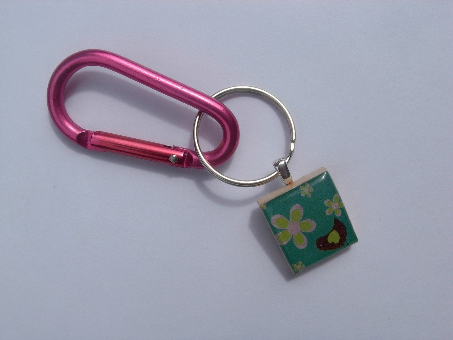 PINK Carabiner Keychain attachment for your Scrabble Tile Pendant