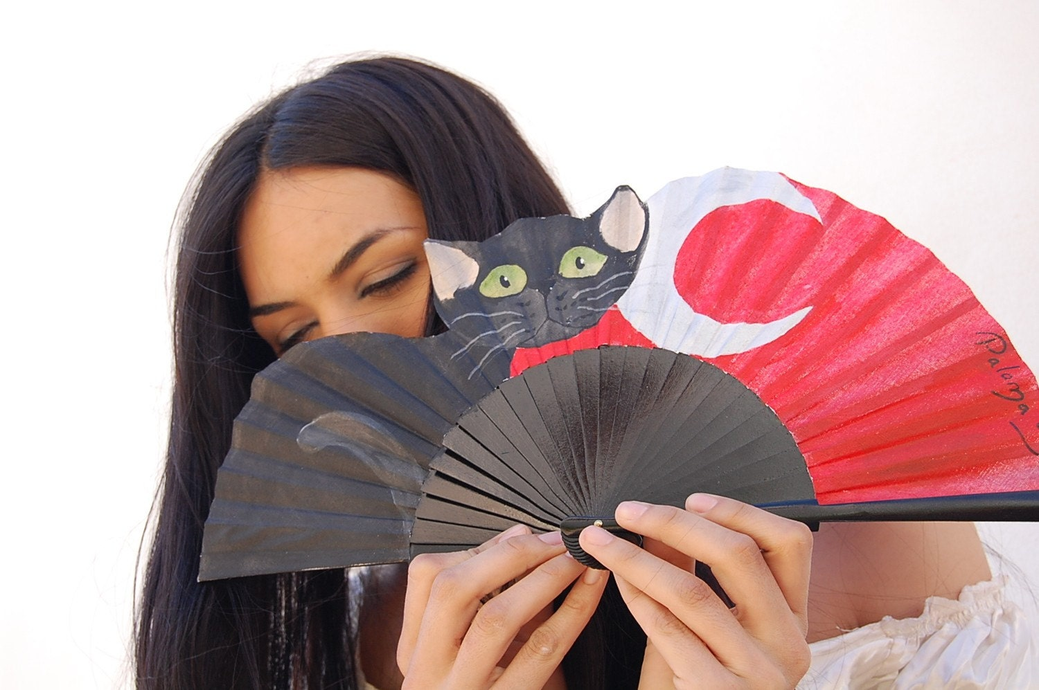 Naif Cat meaw. Fan hand painted. A