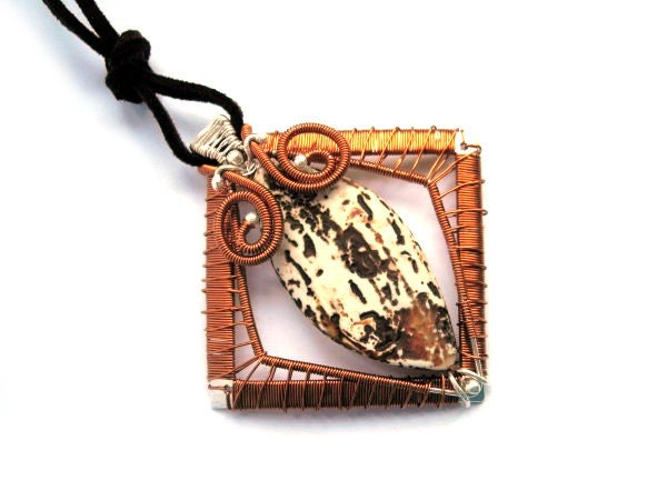 Copper and Silver pendant with etched Agate / tribal pagan primitive / brown beige orange grey silver / square rhombus geometrical - NurrgulaJewellery