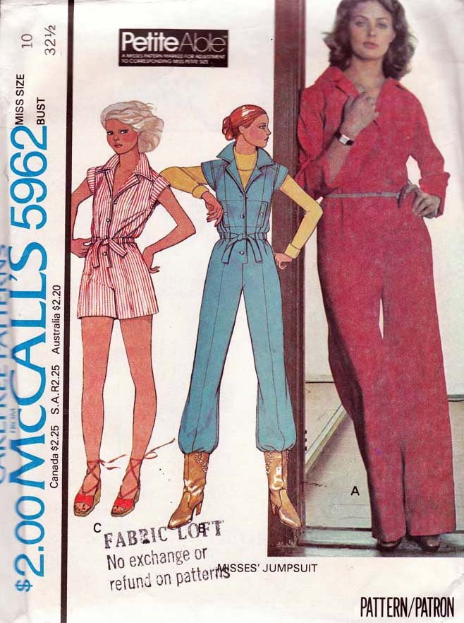 New 1980s Vogue Sewing Pattern 7454 Womens Jumpsuit In By CloesCloset 10