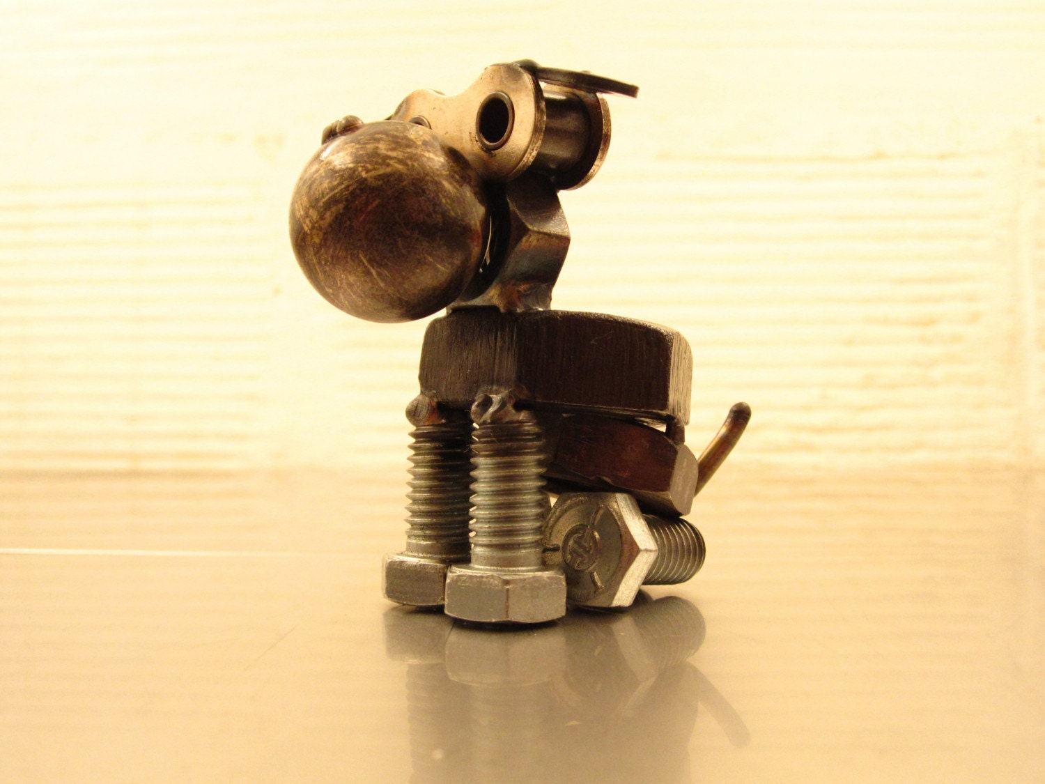 Plato, a nuts and bolts dog sculpture