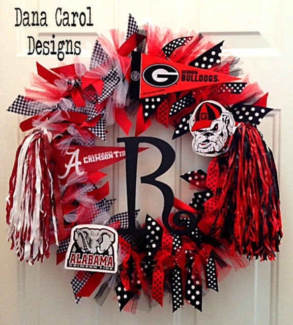 Items similar to alabama georgia house divided wreath wall for Alabama football wall mural