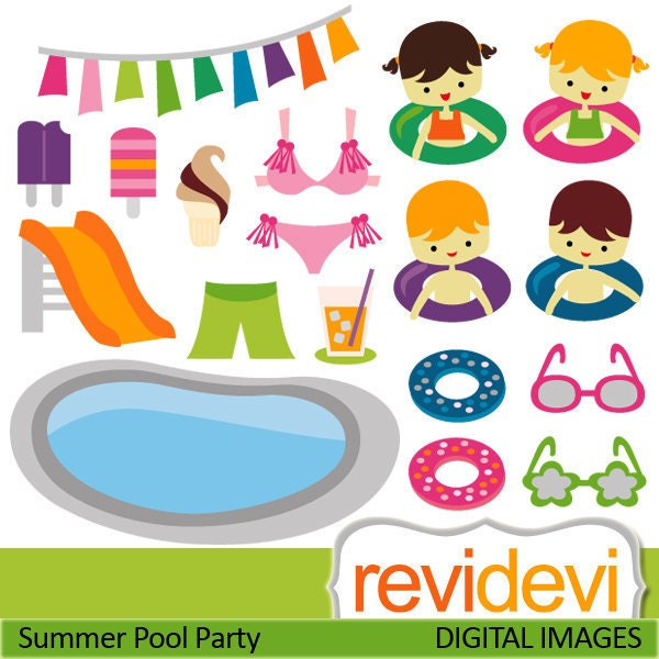 Summer Pool Party Clipart 07397 Commercial Use Digital Graphic Clip Art
