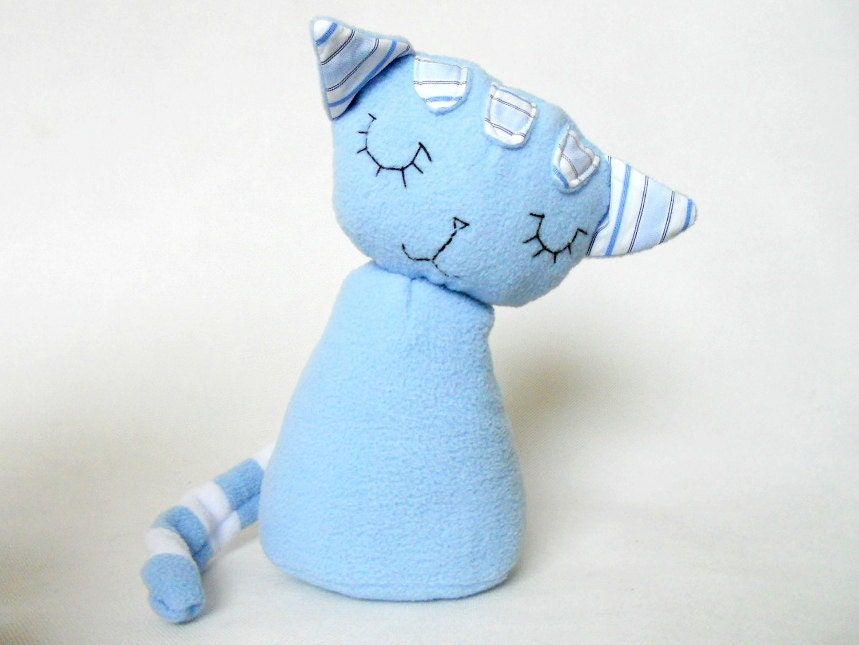 Stuffed Animal Handmade Light Blue Cat Soft Safe Baby BoyToy Polar Fleece Cotton Baby Boy Decor - baraqada
