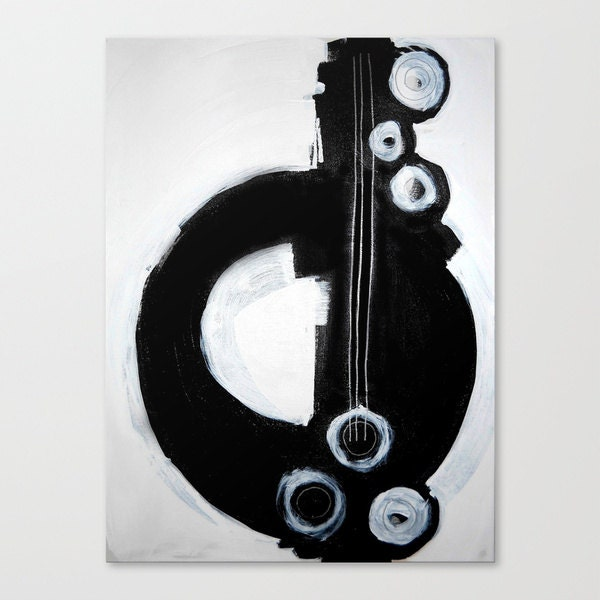 "13"" x 18"" ART PRINT on stretched canvas - modern abstract painting - black white contemporary - guitar music - linneaheideart"