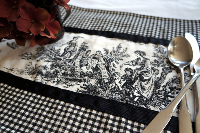items similar to black and white toile placemats victorian placemats checkered and toile. Black Bedroom Furniture Sets. Home Design Ideas