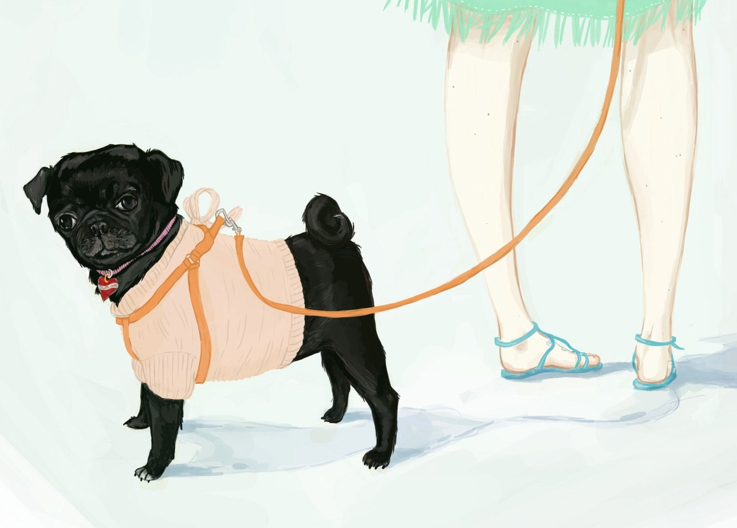 Connie // Girl going at the Beach with Black Pug in a Peach Sweater - pauletrudelbellemare