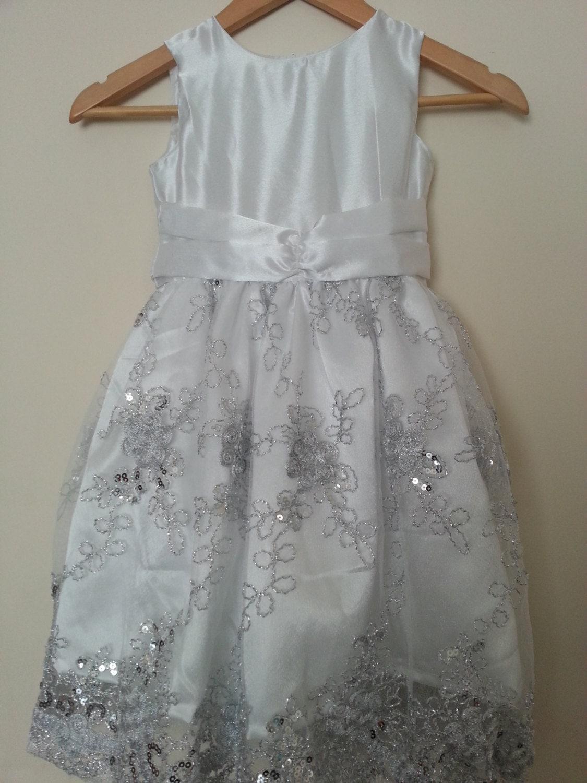 White Satin and Tulle Flower Girl Dress Party Dress Birthday Dress Christmas Dress Sleeveless dress