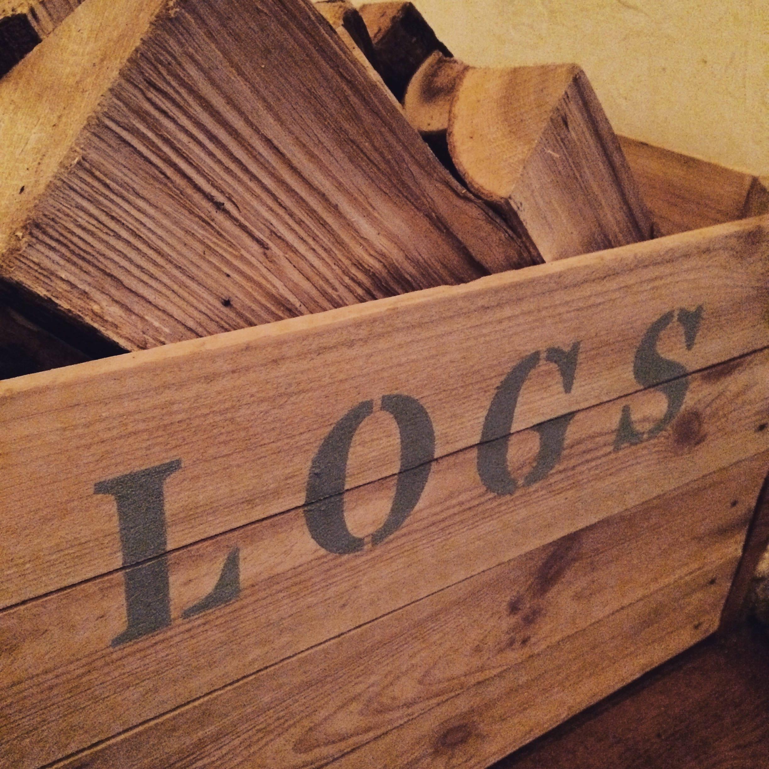 Rustic reclaimed vintage apple crate log storage box  caddy.