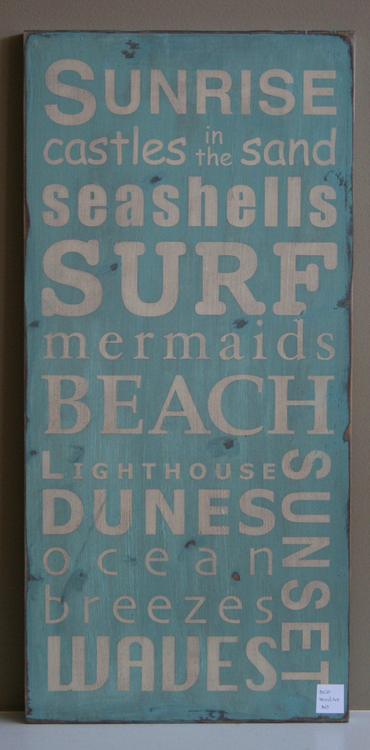 A Day at the Shore Beach Typography Word Art Sign