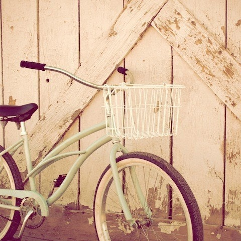 "The End of a Summer-5""x5"" Fine Art Photograph. For her, for him, for you. With a taste of summer. Dreamy blues, teals, sandy yellows embellish this charming vintage bicycle."