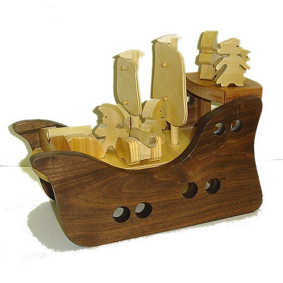 Wooden Toy Pirate Ship Play Set - ThePuzzledOne