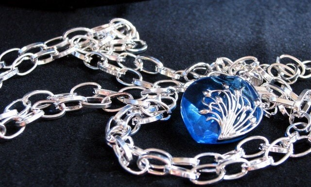 Handmade Silver Necklace with Blue Pendant