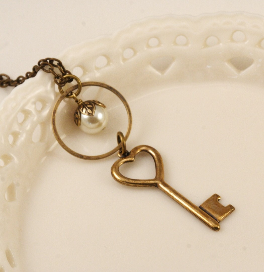 Shipping Included - Key to My Heart Brass Necklace