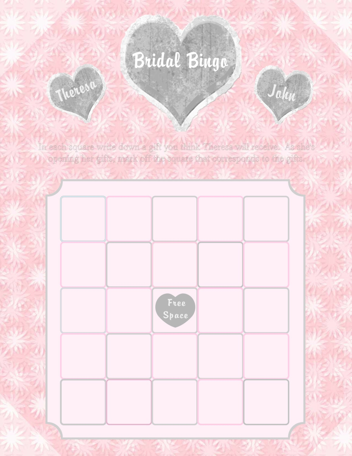 Items similar to Printable Bridal Shower Bingo Cards on Etsy