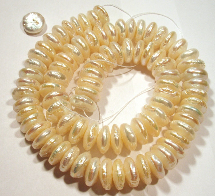Center Drilled Coin Pearls - Fresh Water Cultured Pearls 15 inch Strand Cream Color Aprox 90 - 95 Beads - saxdsign