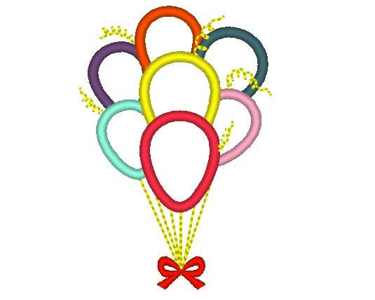 Birthday balloons machine embroidery applique designs by