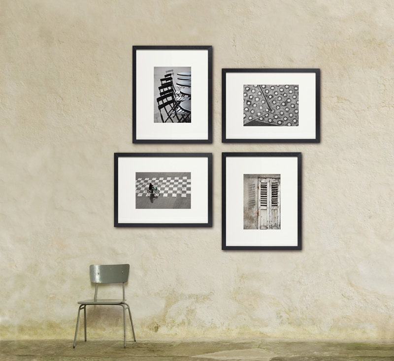 Paris Black and White Photography Minimalist Collection Set of Four 12x18 Medium Prints French Art Prints - LoVedoArt