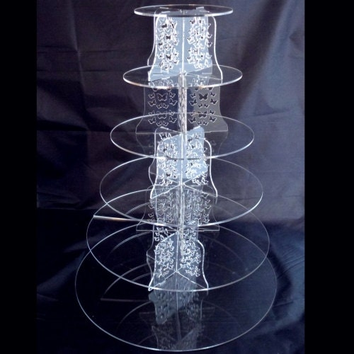 Six Tier Clear Acrylic Round Wedding  Party Cake Stand  Base 39cm15.5