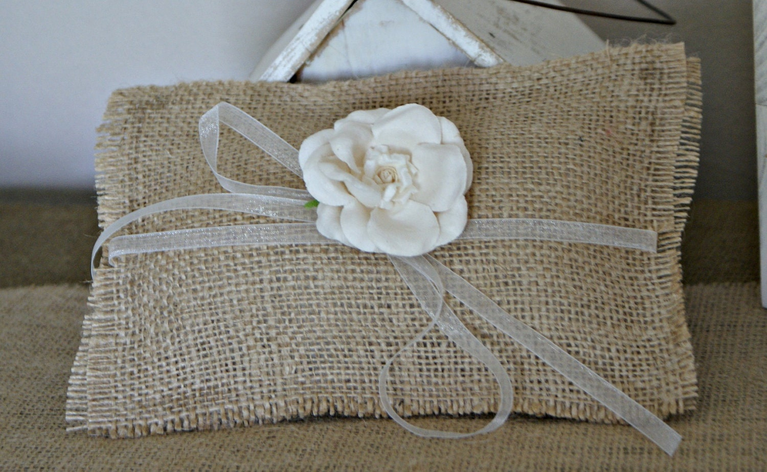 Mini Ring Bearer's Pillow, white, rustic, shabby chic, beach, garden, outdoor, farmhouse, country, ivory