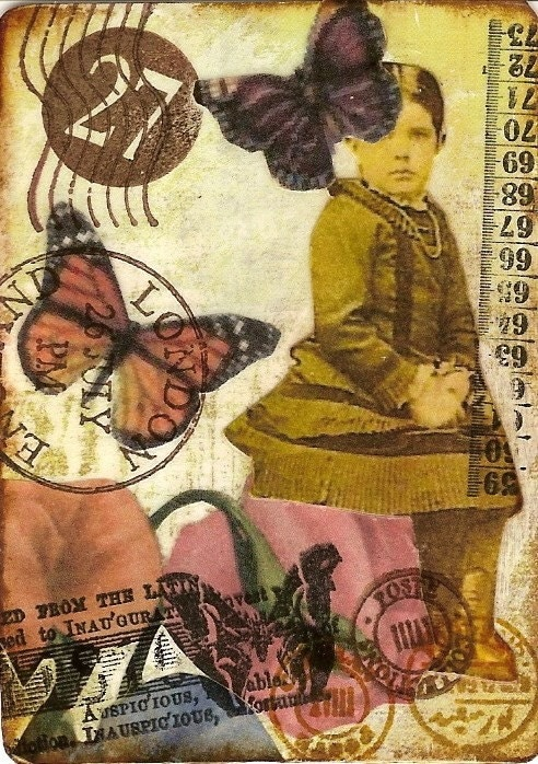 Original ACEO - Altered Mixed Media Collage - Butterflies are Free