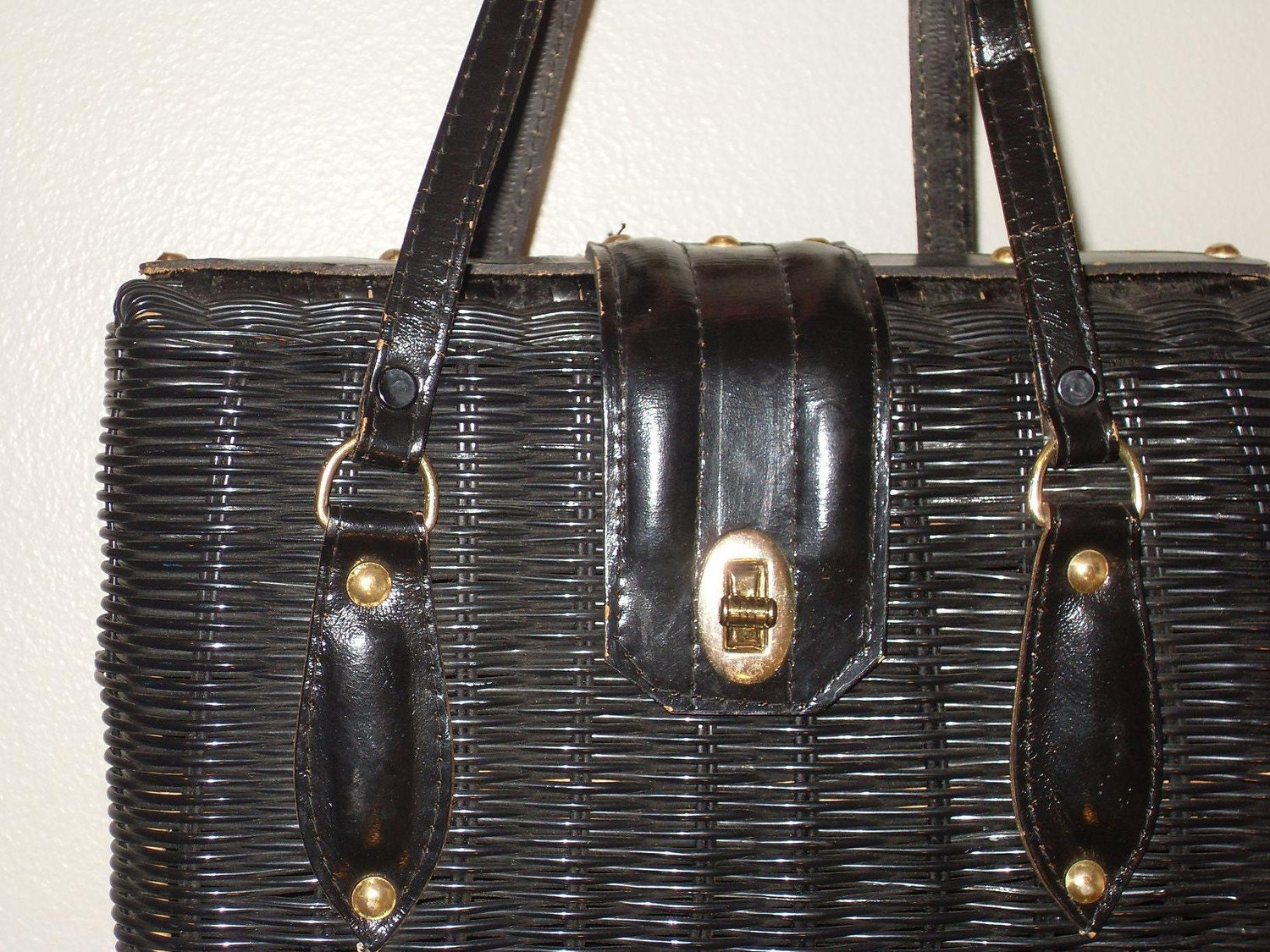 BASKET, Woven black wicker leather handbag