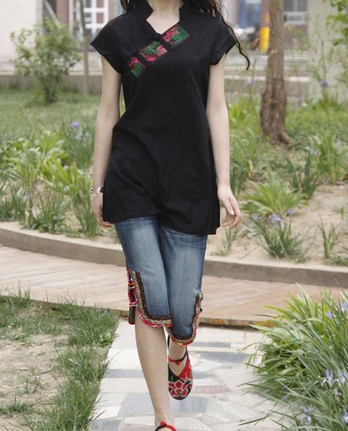 Slim linen embroidered Short sleeved shirt