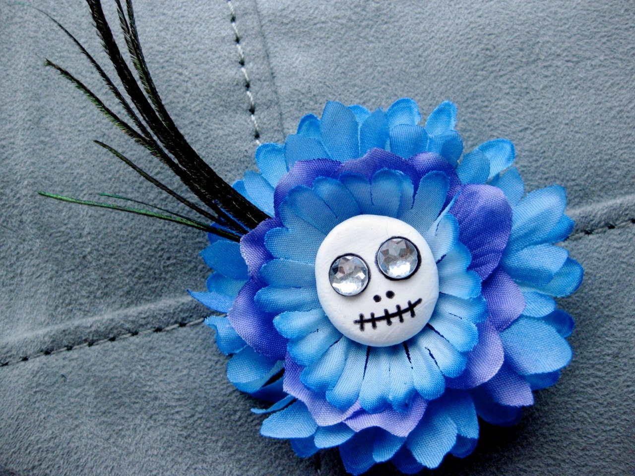 Small Blue Skull Flower Hair Clip and Pin