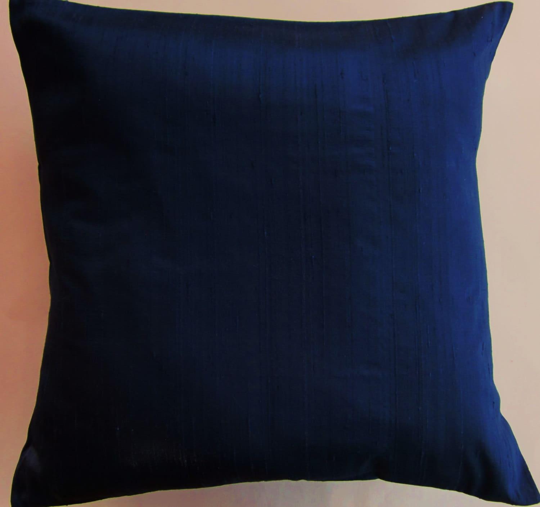 Blue Satin Throw Pillow : Navy Blue Throw Pillow Cover Dark Blue Silk by sassypillows