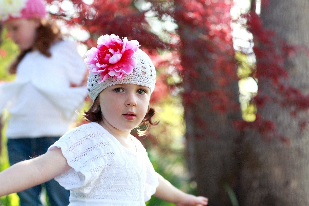 Valentine's Collection- Sweet and Sassy White Toddler Beanie Adorned With A Beautiful Hot Pink Peony Flower Clip (HBTM)