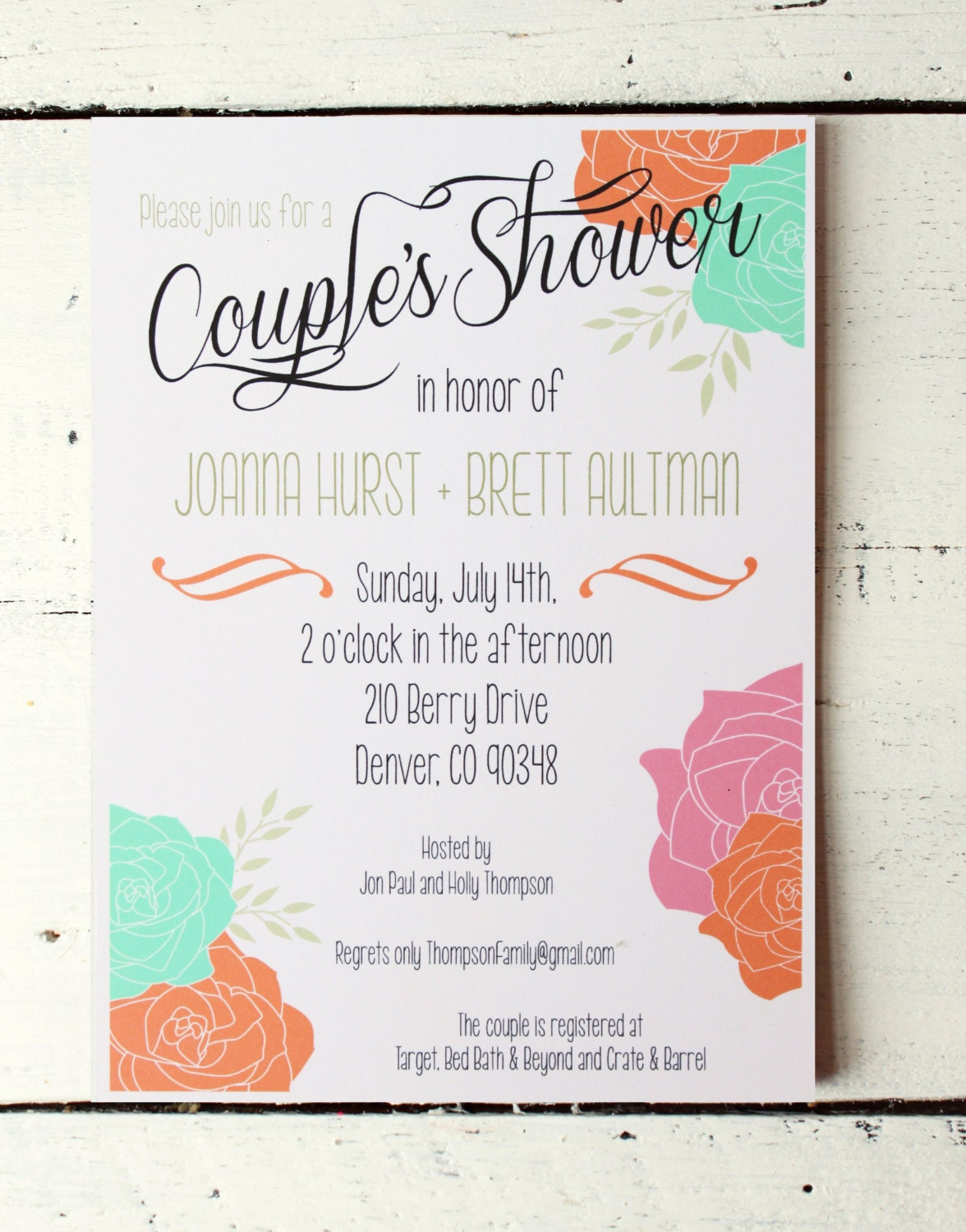 Couples Shower Invitation Bridal Shower Invitation Custom Invite Jack ...
