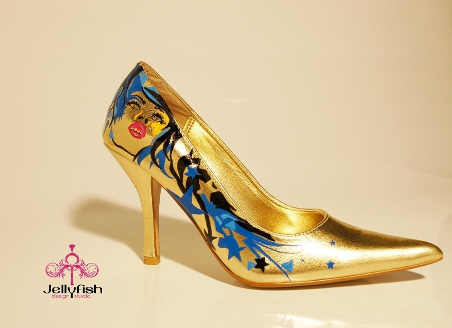 Studio Jellyfish Gold hand painted heels