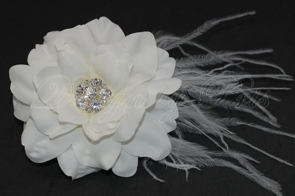 NEW ITEM - Bridal Diamond White Hair Flower with Rhinestones Center and Feathers  Accents - Bridal Hairpiece