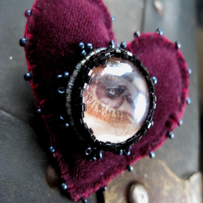 Large Plum Velvet Eye Love You Brooch