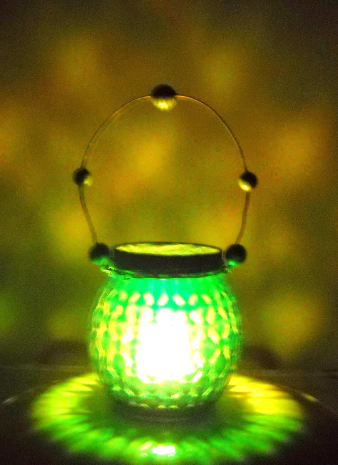 Hanging green lantern  - beaded wire handle - made from a pretty jelly jar - for LED candle - ChickenJungle